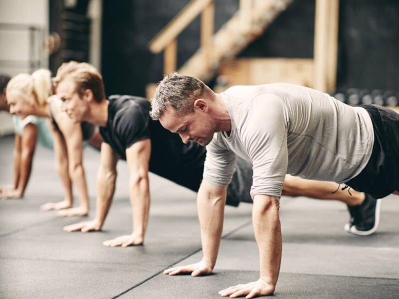 Circuit training group workout