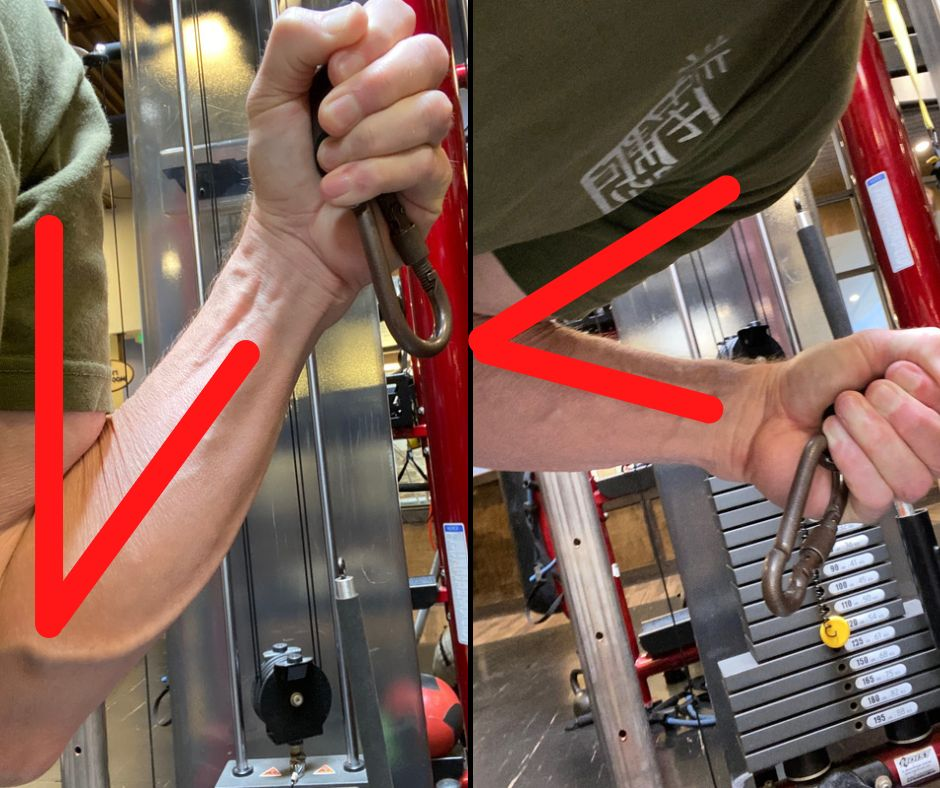 Standing vs bent Single-Arm Standing Cable Extension with lines for angles created
