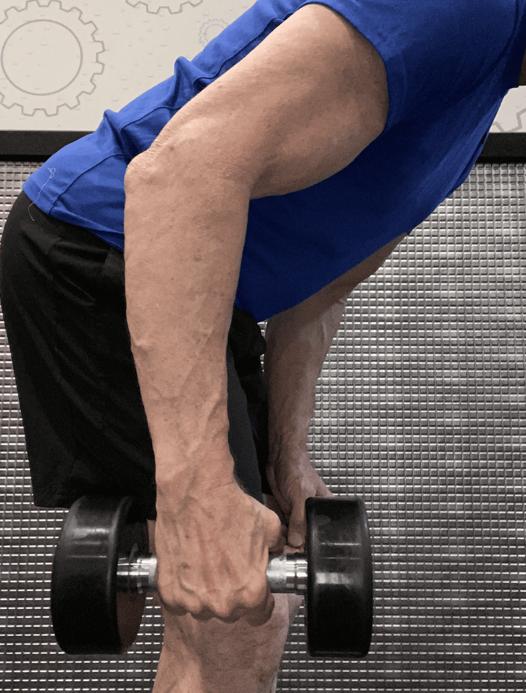 slightly upright forearm down-hanging position