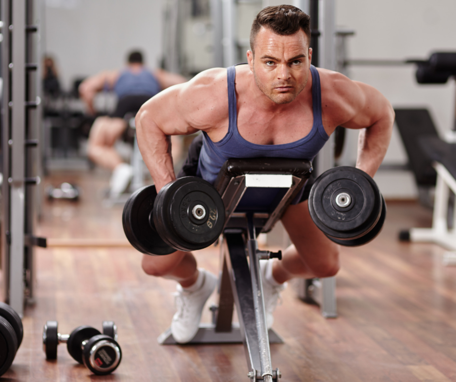 horizontal pulling exercises on adjustable bench and dumbbells